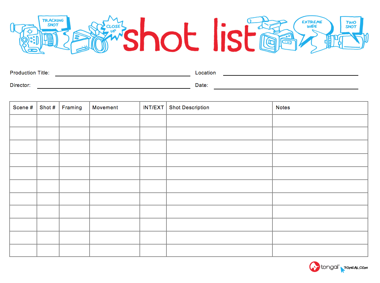 Shot List   Resume Template Sample