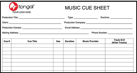 Introducing the tongal music cue sheet maxwellsz