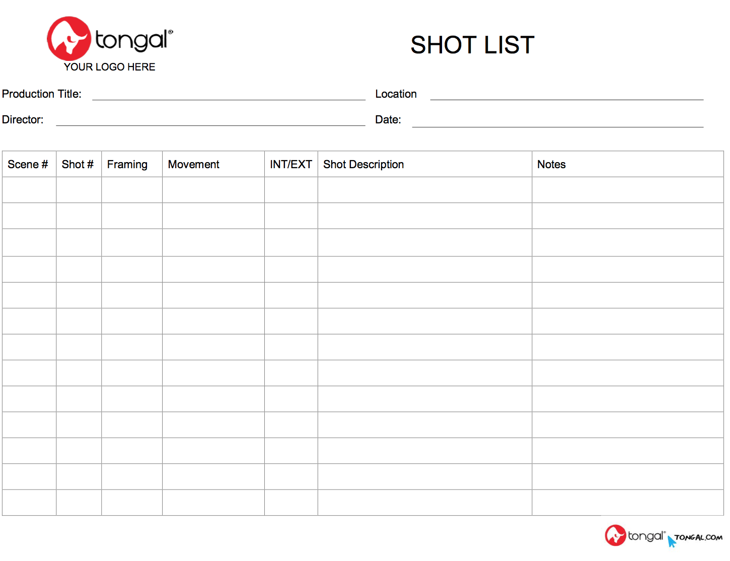... Shot List Template In Two Formats: PDF And DOCX (clicking Will Initiate  A Download). Once Downloaded To Your Computer, Youu0027ll Have The Ability To  Edit ...