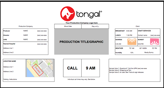 Introducing the Tongal Call Sheet Template - Tongal