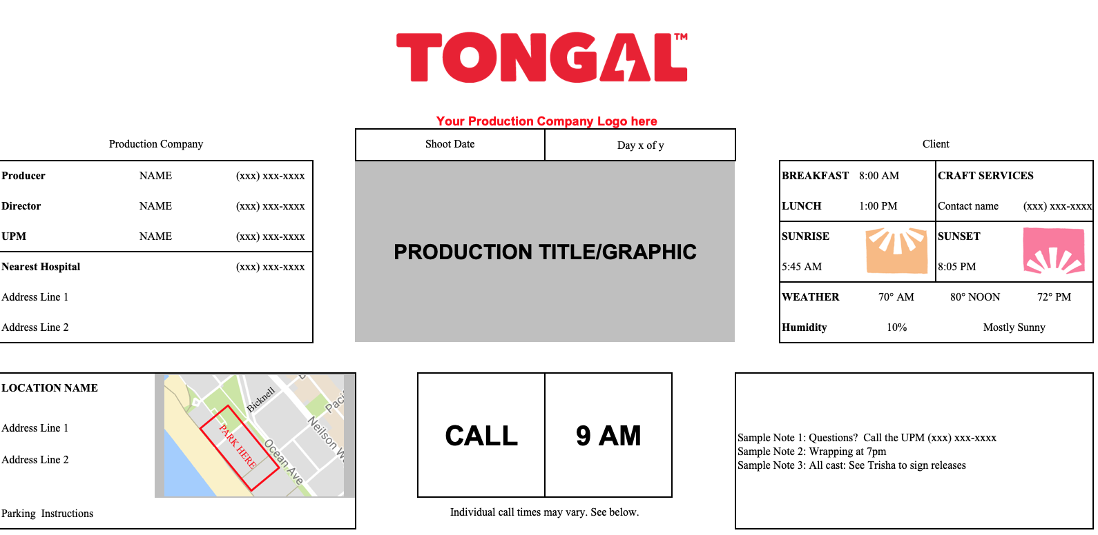 Introducing The Tongal Call Sheet Template